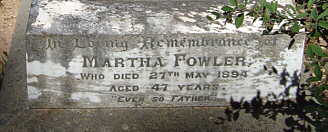 Grave of Martha Fowler